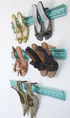 """CLEVER WAY TO STORE SHOES: For your precious pairs that look more like art than shoes, display them out in the open. Inexpensive and lightweight polyurethane molding is easily cut to fit. Removable hanging strips (the kind with """"teeth"""") are strong enough to attach the molding to the wall. A one-foot long piece of molding will securely hold three to four pairs of heels."""