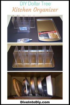 This Dollar Tree DIY kitchen organizer is super easy to make and uses only napkin holders and a cookie sheet from the Dollar Tree. This kitchen project can be used to organize your bakeware, cutting boards, tupperware or anything else you can organize.