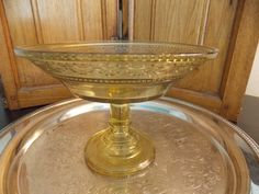 Yellow DEPRESSION GLASS COMPOTE Pedestal by VintageCreativeAccen, $15.00