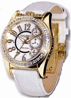 I'm IN LOVE with white leather watches with gold faces...and it's Haurex, none the less