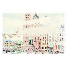 Korean artist Lee Kyutae's illustrations are rendered in delicate colored pencil and pastel, the light touch reminiscent of Impressionism. For Gucci, Kyutae has depicted a bustling palazzo full of tiny figures, with clouds low in the sky. Though spare, the image is full of movement and gesture. Adding an extra dimension to the flat drawing, the blooms and branches of the Tian print curl around the frame, as though embracing the scene depicted. — Larissa Pham