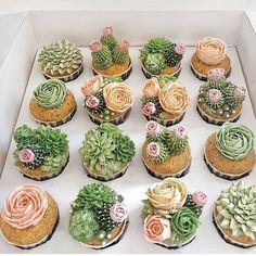 42 ideas for succulent wedding cake cactus cupcakes Cactus Cupcakes, Succulent Cupcakes, Cactus Cake, Garden Cupcakes, Cactus Cactus, Pink Succulent, Flower Cupcakes, Succulent Wedding Cakes, Plant Based Breakfast