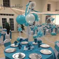 Twins & Co. Babyshower Decorations! Tiffany Co Inspired... So spread the word @mydreamaffair today!!! #mydreamaffair #humble #honored #blessed #grateful #thankful #mydreamaffair #centerpiece #diamonds #eventplanning #planner #events #party #graduation #birthday #babyshower #balloons #ballooncolumns baby balloon rattles