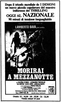 """""""Morirai a mezzanotte"""" (1986) di John Old jr. (Lamberto Bava), con Valeria D'Obici e Leonardo Treviglio. Italian release: June 6, 1986 #MoviePosters #ItalianHorror #HorrorMovies #LambertoBava"""