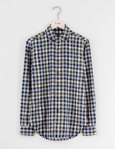 Boden Herringbone Flannel Shirt Blues Gingham Men This flannel shirt has tons of vintage workwear style - but feel free to wear it on your days off. The brushed cotton has a herringbone weave for an authentic touch and mock horn buttons. Layer over a http://www.MightGet.com/january-2017-13/boden-herringbone-flannel-shirt-blues-gingham-men.asp