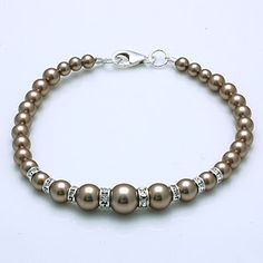 Handmade Swarovski Pearl and Rondelle Wedding Bracelet