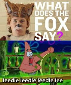 HAHAHAHAHAHA!!! Yes!!!! What does the fox say / spongebob. @Pam Fisher @Christina Damas @brittnie trueblood @Stacey Damas