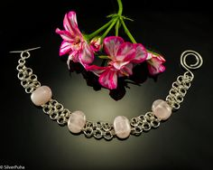 Rose quartz Japanese chainmaille silver bracelet by SilverPuha, $97.00