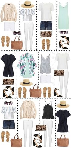 Twelve outfits can be created from just a few basic pieces! This packing guide is really helpful for mixing and matching pieces Twelve outfits can be created from just a few basic pieces! This packing guide is really helpful for mixing and matching pieces Mode Outfits, Casual Outfits, Fashion Outfits, Packing Outfits, Packing Ideas, Packing Checklist, Travel Wardrobe, Capsule Wardrobe, Beach Wardrobe