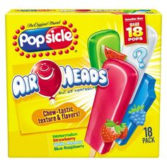 Popsicle Air Heads Ice Pops 18 ct