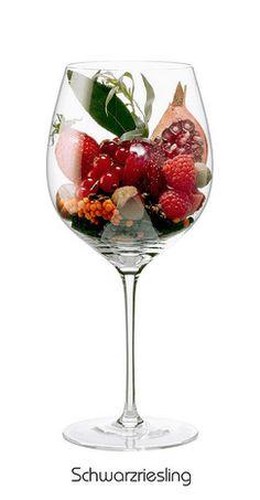 SCHWARZRIESLING: Arômes de framboise, fraise , groseille, noisette , grenade , d'estragon , lentilles , de la sauge ,poivre noir , girofle, muscade.
