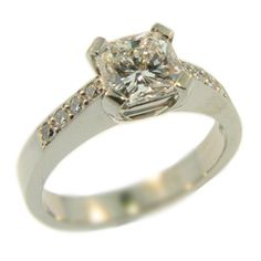 18ct White Gold and Radiant Cut Diamond Ring made at Cameron Jewellery