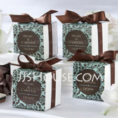 Favor Holders - $4.79 - Cubic Favor Bags With Ribbons (Set of 12) (050025734) http://jjshouse.com/Cubic-Favor-Bags-With-Ribbons-Set-Of-12-050025734-g25734