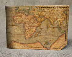 Nicholas. Leather wallet - mens wallet - map wallet