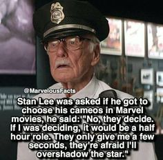 Let's be honest - we all watch Marvel movies as much for the Stan Lee cameos as we do for the actual Avengers. Meme Comics, Funny Marvel Memes, Marvel Jokes, Funny Cartoons, Marvel Dc Comics, Marvel Heroes, Marvel Xmen, Memes Humor, Dc Memes