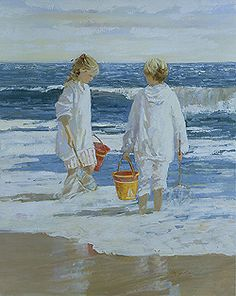 Morning Surf, Nantucket by Sally Swatland - 30 x 24 inches Signed impressionist beach scenes children playing contemporary american chase pothast
