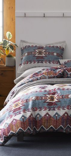 Duvet Covers: Browse through a stunning selection of duvet covers from top brands, selected by interior designer, Tracy Svendsen. Duvet Bedding Sets, Comforters, Native American Blanket, Flannel Duvet Cover, Rustic Bedding, Duvet Covers, Master Bedroom, Interior Design, Fill