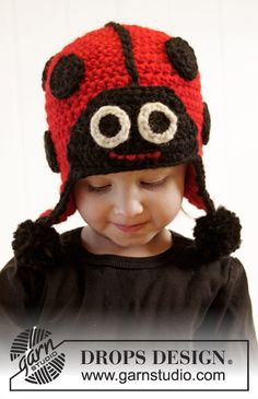 A super sweet #crochet lady bug hat with ear flaps by #garnstudio #dropsdesign Free pattern available