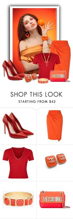 """""""2 Color Combo: Orange & Red"""" by aharcaki ❤ liked on Polyvore featuring Alexander McQueen, Miss Selfridge, Chanel, Chico's, Moschino and Dolce&Gabbana"""
