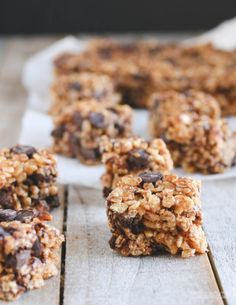 Vegan + Gluten-Free Peanut Butter Dark Chocolate Chunk Krispie Treats