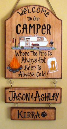 Custom Camper Sign for Camp or Campfire by CreativeDesigns77