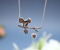 Forest Squirrel and acorn On a Branch Necklace in silver / gold by zizibejewelry on Etsy https://www.etsy.com/listing/129068072/forest-squirrel-and-acorn-on-a-branch