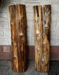 There was a tree I, II  old wooden trunk. 110 x 27 x 15 cm, 110 x 29 x12cm