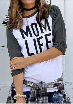 Mom Life Baseball T-Shirt without Necklace