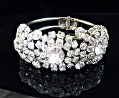 Wide Rhinestone Cuff Bracelet Hinged Clamper by EclecticVintager