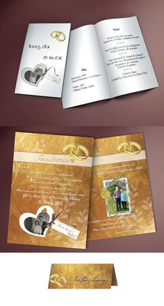 Creation of the invitation and menu card for golden wedding