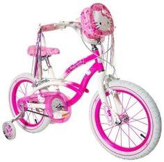 "Hello Kitty Girls16"" Bike Pink White Kids Training Wheels Ride Bicycle Little"