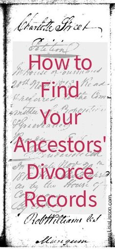 How to Find Your Ancestors' Divorce Records Ancestors did not always live happily ever after. Learn how to search for an ancestor's divorce records and find clues to advance your genealogy research. Free Genealogy Sites, Family Genealogy, Genealogy Forms, Free Genealogy Records, Lds Genealogy, Ancestry Records, Genealogy Chart, Find Your Ancestors, Family Tree Research