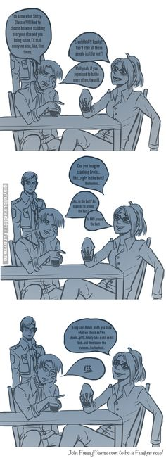 drunk levi and hanji...| Erwin...Erwin XD stop them before they actually get to it