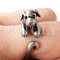 $10 Miniature Puppy Dog Ring in Silver Sizes 5 to 9 available
