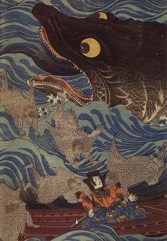 Utagawa Kuniyoshi (1797-1861), giant fish, tengu, detail,
