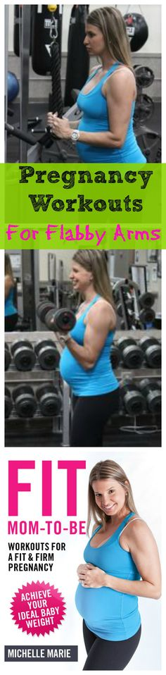 Pregnancy Workout to help have toned Arms and not get flabby during pregnancy. 20 Triceps extensions and 20 bicep curls, repeat 3 times total. More pregnancy workouts to help reduce pregnancy weight gain to a happy and healthy one.