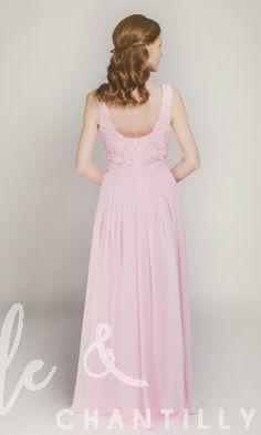 Long Blush Chiffon and Lace Bridesmaid Dress TBQP227