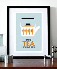 Cathrineholm poster print Mid Century Modern home kitchen art office coffee tea - It's Tea O'clock A3. $29,00, via Etsy.