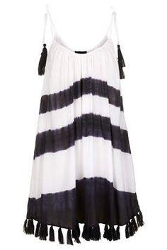 Black + White Tassel Hem Dress - Swimwear - Clothing