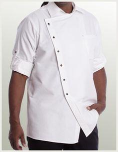 Asym Chef Shirt | ShannonReed.com #ChefShirt #ChefWear #UtilityChic