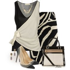 """""""Color Block ... Ivory and Black ..."""" by mrsbro on Polyvore"""