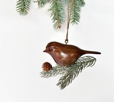 Christmas tree ornament by NorthwoodsCarvings on Etsy