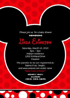 mickey mouse baby shower birthday party invitation maybe if we change it to blue