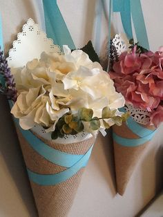 Burlap wedding pew cone- would be great to replace with fresh flowers! Wedding Pews, Wedding Reception Tables, Diy Wedding, Wedding Events, Rustic Wedding, Reception Ideas, Pew Decorations, Church Wedding Decorations, Purple Wedding