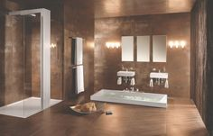 Copper / Browns Product image for Villeroy & Boch Fire & Ice Tile 2409 x Loft Bathroom, Bathroom Wall, Master Bathroom, Bathroom Ideas, Bad Inspiration, Bathroom Inspiration, Mansion Bathrooms, Tiles Uk, Fire And Ice