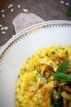 Risotto aux seiches, curry et basilic