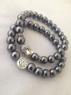 Eternal Knot & Buddha Bracelet Set - 2 Bracelets Hematite on Etsy, $40.00