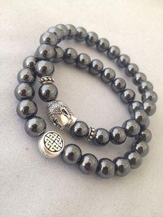 Eternal Knot & Buddha Bracelet Set - 2 Bracelets Hematite  on Etsy, $40.00