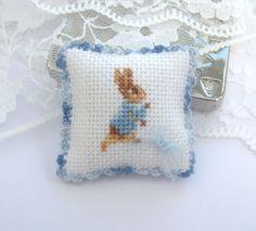dollhouse pillow cushion peter rabbit beatrix by Rainbowminiatures