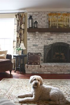 To change the color of a brick fireplace = First, they removed the wood mantle.  Then, using a mixture of equal parts of latex paint and water, one of them applied it to the bricks with a paintbrush while the other followed behind with a rag removing the access.